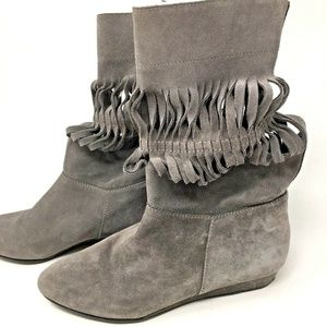 7 For All Mankind Suede Gray Slouch Cut Out Boots